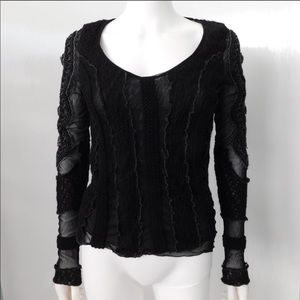 Made in Italy knit mesh long sleeve top